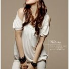Korean Peek-a-Boo Shoulder White Cotton Top