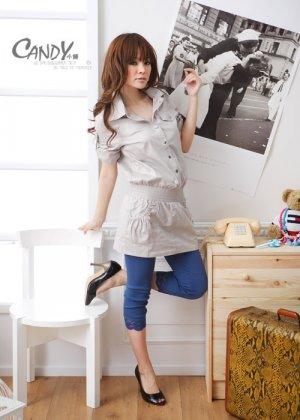 Japan Safari Style Gray Cotton Top
