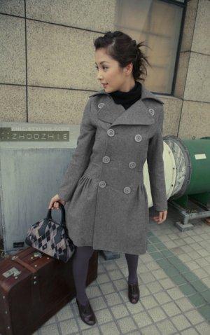 HOT ITEM~  Korean Gray Double Breast Dress Coat
