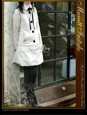 HOT ITEM~ Korean White Fur Wool-Blend Dress Coat