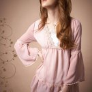 Fashion lace chiffon blouse tops pink - S/M