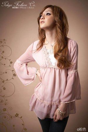 Fashion lace chiffon blouse tops pink - S/M