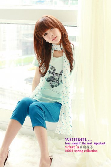 Japan hot item lovely RING cotton top #1485 Blue