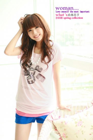 Japan hot item lovely RING cotton top #1485 Pink