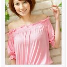 Off-shoulder cotton top #1484 Pink