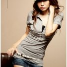 Hot item~Lovely trim cotton top #8924 Grey