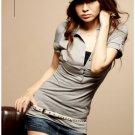 Hot item~Lovely trim cotton top #8924 Grey