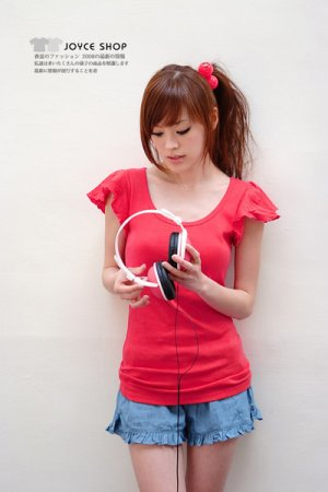 Lovely Wide sleeve cotton top #8904 Red