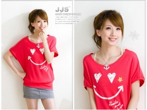 Keep smile Lovely cotton top #8878 Red