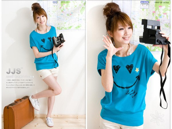 Keep smile Lovely cotton top #8878 Blue
