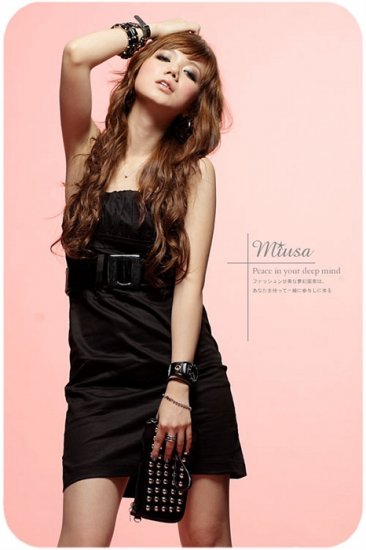 Low-cut cotton dress #1478 Black