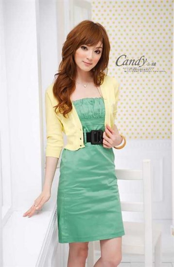 Low-cut cotton dress #1478 Green