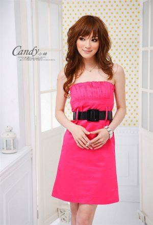 Low-cut cotton dress #1478 Red