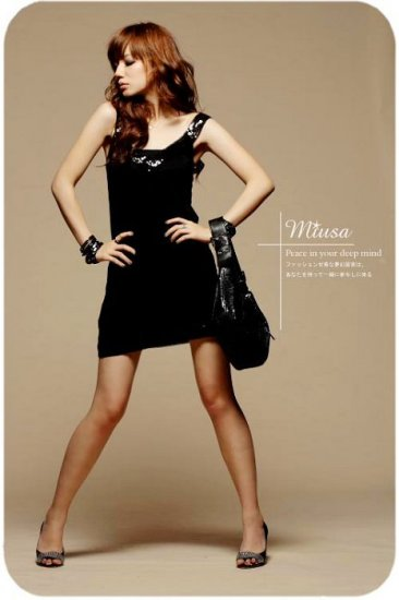 Shiny cotton dress #8903 Black