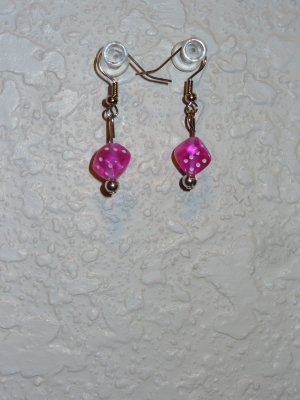 Earring - Pink Dice