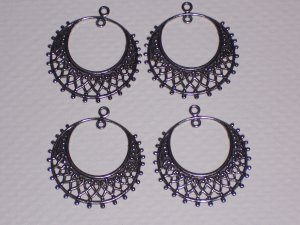 4 Antique Silver over Brass Filigree Hoop Drops for Earrings