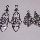 4 Fancy Silver over Brass Ornate Drops for Earrings or Pendants
