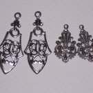 4 Fancy Silver over Brass Ornate Drops for Earrings or Pendants