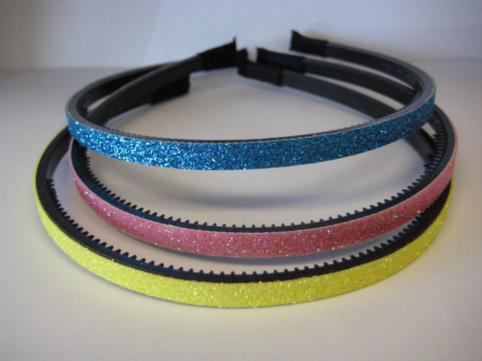 GLITTER HEADBANDS Thin 3-Pack *TURQUOISE-PINK-YELLOW*