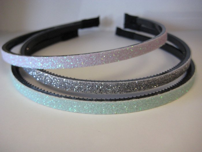 GLITTER HEADBANDS Thin 3-Pack *LAVENDER-SILVER-MINT GREEN*