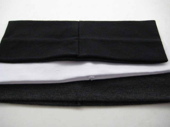 Celebrity Favorite COTTON HEADBAND 3-PACK *BLACK-WHITE-CHARCOAL* [AS SEEN ON GWEN AND CAMERON]