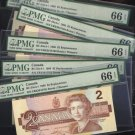 "1986 $2 ""replacement"" EBX 5 consecutive BANK OF CANADA PMG66 gem"