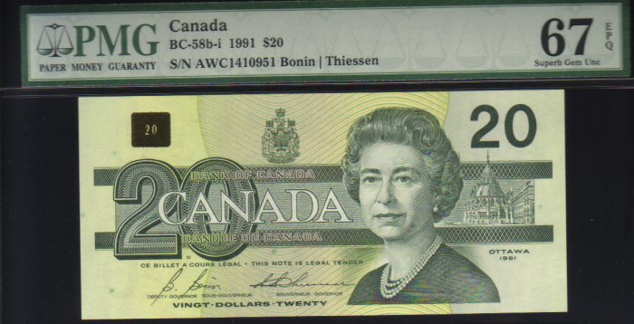 1991 $20  BANK OF CANADA PMG67 gem