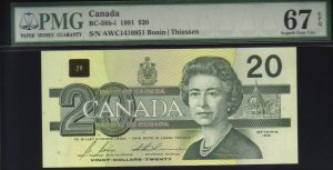 1991 $20  BANK OF CANADA PMG67 gem