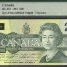 1991 $20 AWC knight /thissen  BANK OF CANADA PMG66 gem