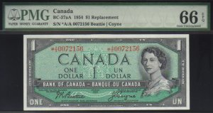 """1954 $2 """"replacement"""" *A/A BANK OF CANADA PMG65  gem"""