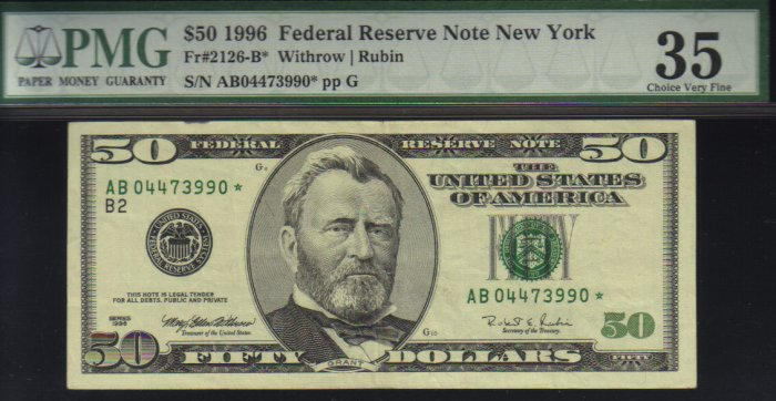 1996 $50 PMG 35  FR#2126-B*   Federal Reserve Note   AB04473990*