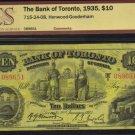 1935 $10 BANK OF TORONTO BCS F 15
