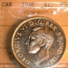 1946 CANADA  SILVER DOLLAR   MS-60  ICCS CERTIFIED COIN