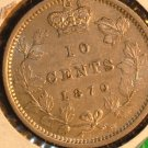 "1870 wide ""o"" CANADA  ten  cents    AU  50 beautiful  COIN"