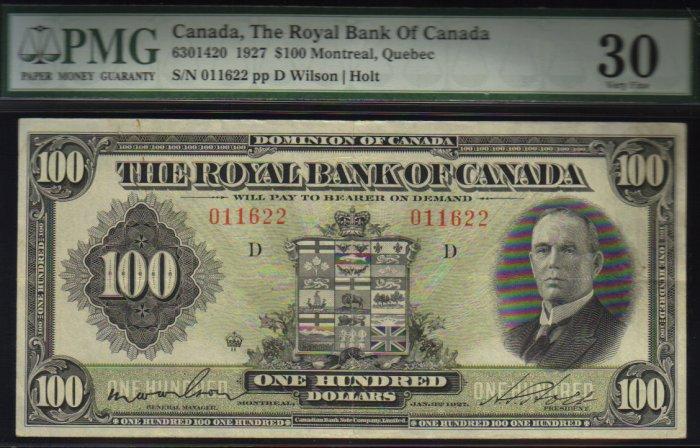 1927 $100 THE ROYAL BANK OF CANADA   PMG VF 30