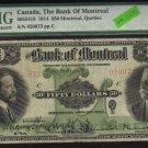 1914 $50 BANK OF MONTREAL ,quebec ,CANADA PMG 10