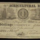 AGRICULTURAL BANK   1837  ONE  piaster CANADA BANKNOTE