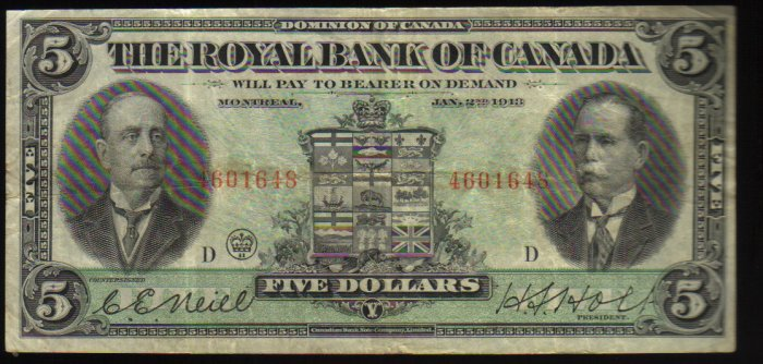 1913 $5 Royal Bank of Canada large banknote -BANKNOTES CANADA
