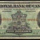 1913 $5 Royal Bank of Canada large banknote -BANKNOTES CANADA