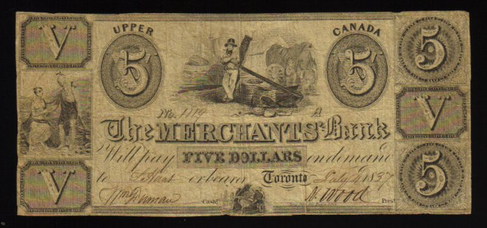 $5 the merchants bank upper canada  BANKNOTES CANADA