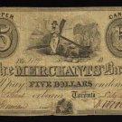 $5 the merchants bank upper canada  BANKNOTES CANADA