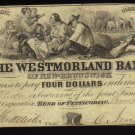 1859 $4 the westmorland bank  new brunswick CANADA CHARTERED BANKNOTE