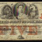 1849 $5 FARMERS JOINT STOCK BANK    canada chartered banknotes CANADA CHARTERED BANKNOTE