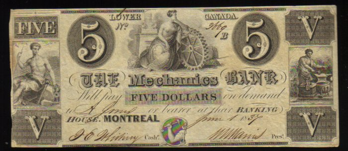$5 THE MECHANICS BANK MONTREAL CANADA CHARTERED BANKNOTE