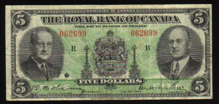 1943 Royal Bank of Canada $5 Very Fine  CANADA