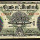 1938 $5  BANK OF MONTREAL  five dollars