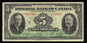 1939 $5 IMPERIAL BANK OF CANADA  scarcer than $10