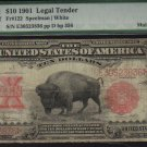 USA $10 1901 BISON & EXPLORERS much scarcer  MULE PMG vg8  FR122