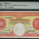 1941 $10 Malaya 10 Dollars  PMG 20