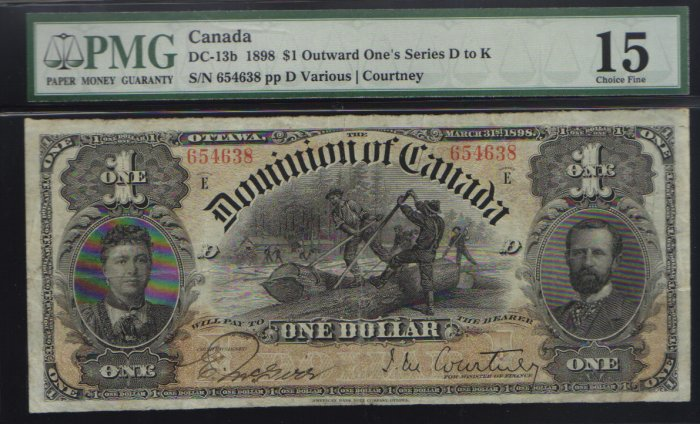 1898  $1DOMINION OF CANADA   PMG 15 ones outward F/VF
